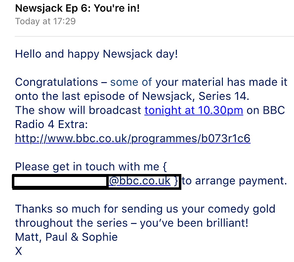 Email from the NewsJack Production team confirming a joke of mine made the grade and was in the broadcast edit.